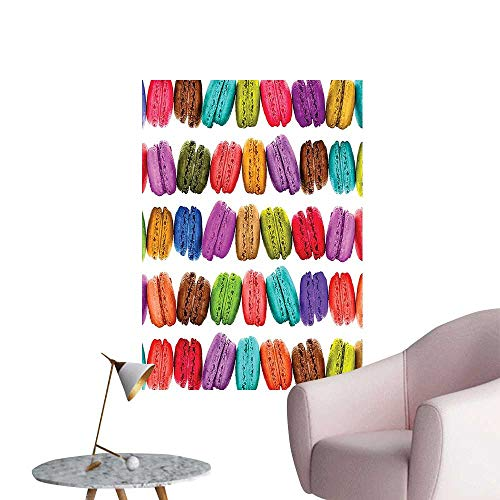 Wall Stickers for Living Room French Macar in Row fee Shop Cooki Flavours Pastry Bakery Vinyl Wall Stickers Print,12