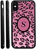 Rikki Knight Letter S'' Light Pink Leopard Print Monogrammed Design iPhone X Hybrid TPU Case Cover (Black Rubber with Front Bumper Protection) for iPhone X