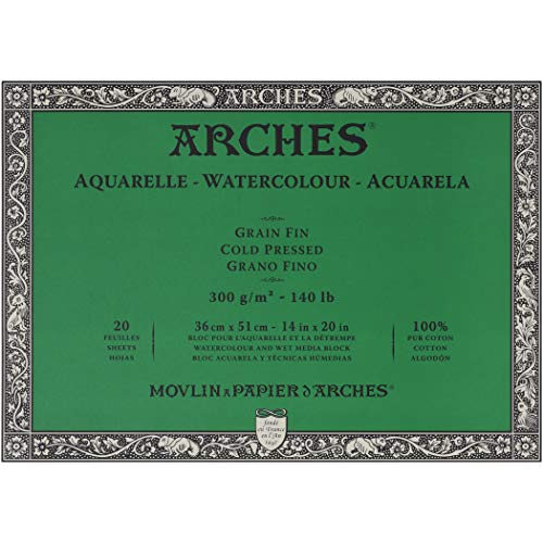 Arches Watercolor Paper Block - Cold Press 140lb - 18x24 - with 4-Pack Upsyde Angle - Heavyweight Stretch Shorts