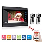 TMEZON 7'' TFT Color LCD Display WIFI/Wired Video Door Phone Visual Intercom Doorbell 2-Camera 1-Touch Screen IR Night Vision