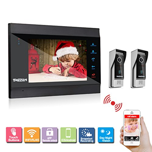 TMEZON 7'' TFT Color LCD Display WIFI/Wired Video Door Phone Visual Intercom Doorbell 2-Camera 1-Touch Screen IR Night Vision by TMEZON