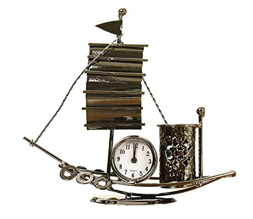 Office Desktop Ornaments Metal Sailboat Mute Table Clock Pen Pencil Holder Luxury Gifts Home Decoration ()