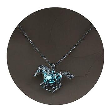 Timetries Bleu Ciel Cheval Lumineux Silver Plating Collier Voiture  Citrouille Halloween Pendentif Accessoires
