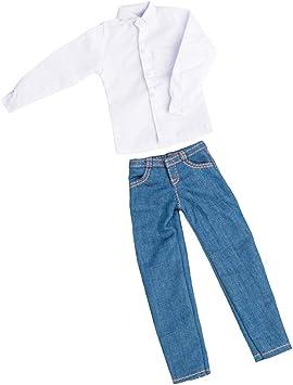 Amazon Es Baoblaze 1 6 Escala Hombres Camisa Jean Pantalones Para 12 Hombre Soldado Figura De Accion Body Doll Diy Accesorios Juguetes Y Juegos