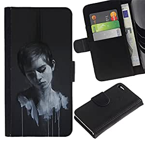 NEECELL GIFT forCITY // Billetera de cuero Caso Cubierta de protección Carcasa / Leather Wallet Case for Apple Iphone 4 / 4S // Emma Wats0N Pintura