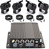 Wen&Cheng 4CH 720P Mobile AHD DVR Realtime Video/Audio Recorder with Remote Control + 4 pcs Waterproof 18 IR LED HD Camera + 4pcs Video Power Extension Cables, Car Black Box Security System
