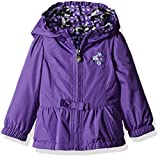 London Fog Baby Girls' Midweight Reversible Poly to Fleece Jacket, Purple, 24 Months