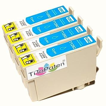 *TITOPATEN* 4x Epson Stylus Office BX 635 FWD Plus kompatible XL Druckerpatrone ersetzt Typ T1291-1294 - Cyan - Patrone MIT C