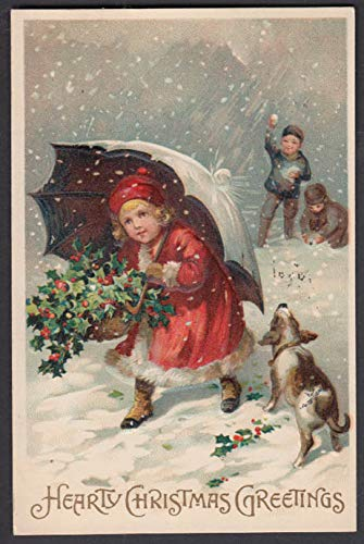 Hearty Christmas Greetings postcard 1911 girl under umbrella with holly