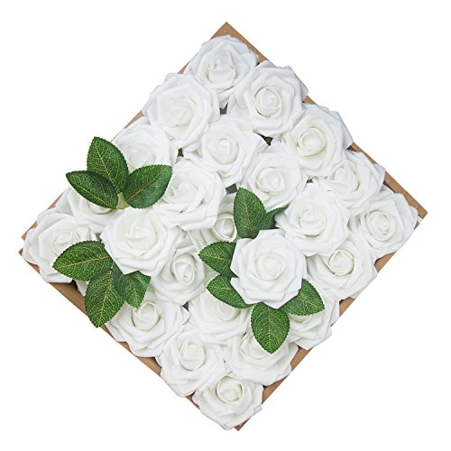 Umiss Wedding Bouquet 50pcs Artificial Flowers White Real Touch Artificial Roses for Bouquets Centerpieces Wedding Party Baby Shower DIY Decorations (White)