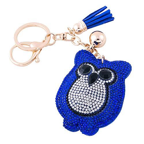 Blue Glitter Key Chain - Soleebee Women Girl Tassel Owl Keychain Premium SS6 Crystal Key Chain Glitter Bag Charm (Dark blue)