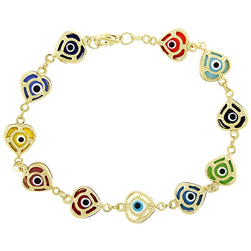 14k Yellow Gold Womens 9mm Multi-COlor Evil Eye Heart Good Luck Charm Bracelet Chain 7.5'' by In Style Designz