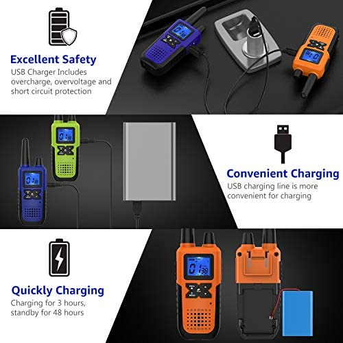 3 Long Range Walkie Talkies Rechargeable for Adults – NOAA FRS GMRS UHF 2 Way Radios Walkie Talkies – CB Long-distance 2way Walkie Talkies with Earpiece Mic Weather Alert USB Cable Charger K10 Colors