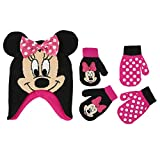 Disney Little Girls Minnie Mouse Polka Dot Hat and 2 Pairs Mittens or Gloves Cold Weather Accessory Set, Ages 2-7 (Toddler Girls Age 2-4 Hat & 2 Pair Mittens Set, Black/Dark Pink)