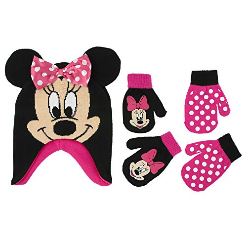 Minnie Mouse Polka Dot Hat and 2 Pairs Mittens or Gloves Cold Weather Accessory Set, Ages 2-7 (Toddler Girls Age 2-4 Hat & 2 Pair Mittens Set, Black/Dark Pink) ()