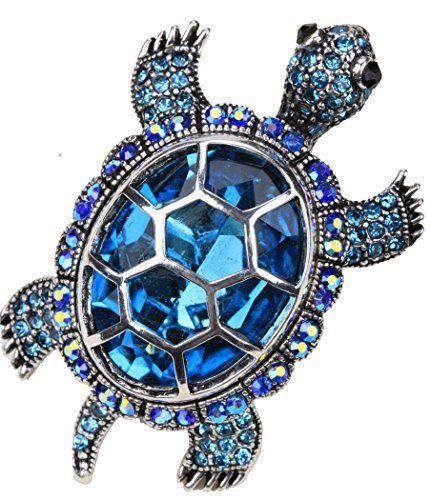 YACQ Jewelry Womens Crystal Big Turtle Stretch Rings Scarf Ring Buckle Clip Women