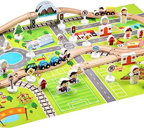 Juego de viaje en tren y carretera, juego de juguetes de madera Juego de carro de rieles flexible de ferrocarril clásico de madera Juego de construcción de juguetes para niños de 3