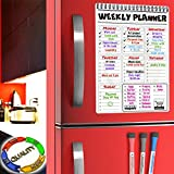 Weekly Whiteboard Calendar Dry Erase Board - Magnetic Weekly Calendar for Refrigerator - To Do List Magnet Calendar Week - Magnetic Week Planner with Grocery List - Family Message Board and Marker Set