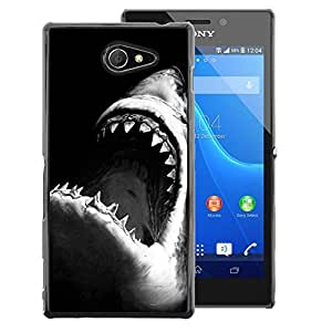 A-type Arte & diseño plástico duro Fundas Cover Cubre Hard Case Cover para Sony Xperia M2 (Jaws Shark Black White Surfing Surf)