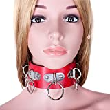 PU Leather Fetish Adult Collars for Women Sexy Collar with 5 Metal Ring Adult Games Sex Collar Toys Sex Products Restraint Tool Red