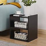 GreenForest Bedside Table 3-Tier Wood Organizer Storage Shelf Bedroom Nightstand End Side Coffee Table, Black
