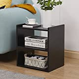 GreenForest Bedside Table 3-tier Wood Organizer Storage Shelf for Bedroom Nightstand End Side Coffee Table, Black