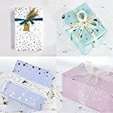 LaRibbons Gift Wrapping Paper Roll - Hearts/Polka Dots/Stars (2 Kinds) Design for Birthday, Mother Day, Valentines Day, Wedding, Baby Shower Gift Wrap - 4 Rolls - 30 inch X 120 inch Per Roll