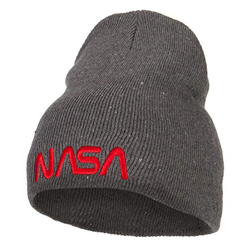 NASA Letter Logo Embroidered Stretch ECO Cotton Short Beanie - Charcoal OSFM