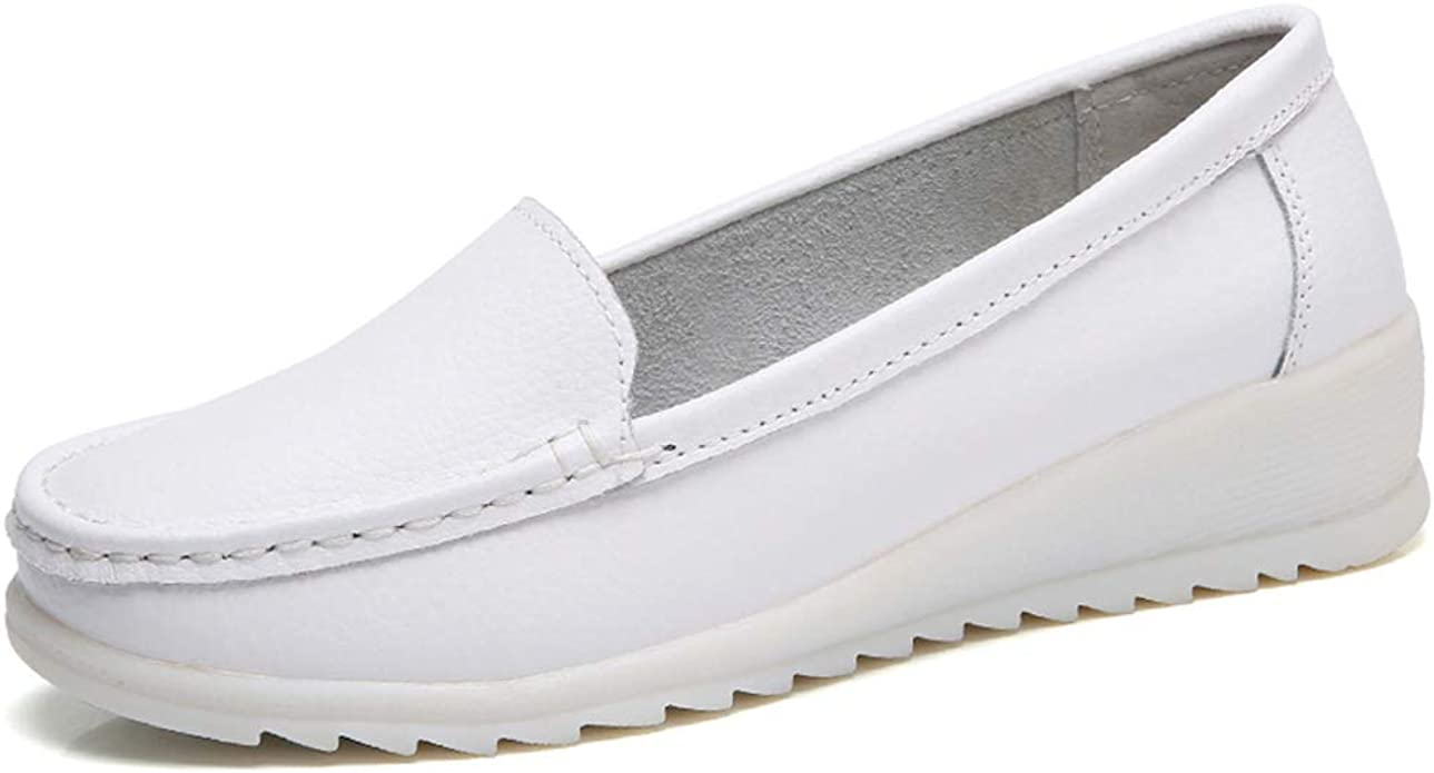 Nurse Work Wedge Leather Loafers