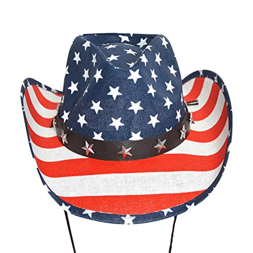 Amosfun American Flag Cowboy Hat western hat Summer Sunhat Wide Brim Straw Hat for 4th of July party favors gifts (White Cap Edge) ()