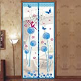 Magnetic Fly Screen Door, Dandelion Pattern Magnetic Fly Insect Screen Door Screen Mesh Curtain Fits Door, Magic Curtain Door Mesh (100210,sky blue)