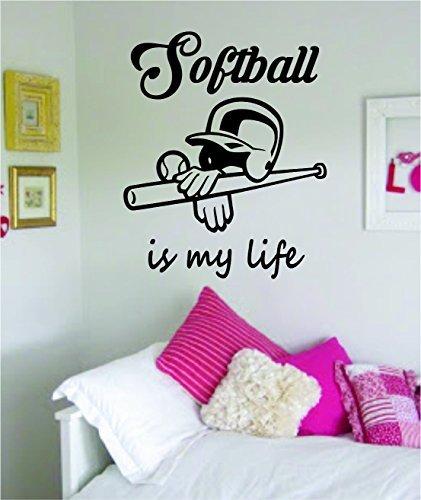 (Softball Is My Life Version 2 Wall Decal Sticker Art Vinyl Sports Girls Teen Bat Ball Helmet)