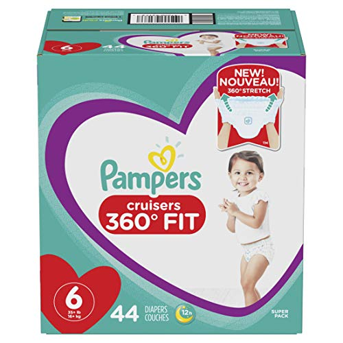 Pampers Pull On Diapers Size 6 - Cruisers 360˚ Fit Disposable Baby Diapers with Stretchy Waistband, 44Count Super Pack