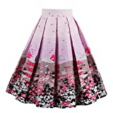 #3: Girstunm Women's Pleated Vintage Skirt Floral Print A-Line Midi Skirts With Pockets