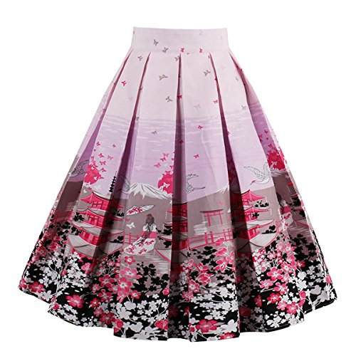Girstunm Women's Pleated Vintage Skirt Floral Print A-line Midi Skirts with Pockets Pink-Flower XX-Large