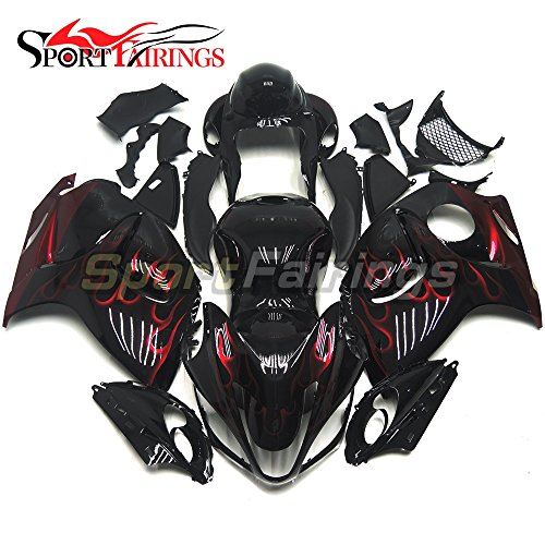 Black Abs Injection (Sportfairings Motorcycle Fairing Kit For Suzuki GSX-R1300 GSX-R GSXR 1300 Hayabusa 2008 2009 2010 - 2014 2015 Fairings Injection ABS Black Red Flames)