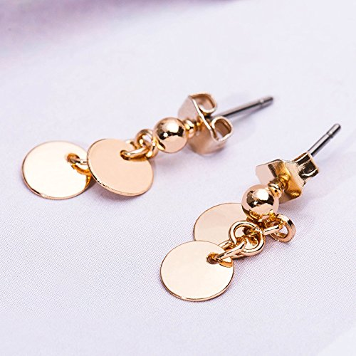 WLLAY Simple Polished Gold Silver Round Disc Stud Earrings Circle Drop Earrings for Women Girls