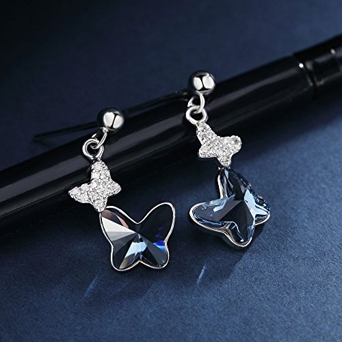 Sterling Silver Blue Butterfly Earrings, T400 Drop Stud Earrings Made with Swarovski Element Crystals Gift by T400 (Image #5)