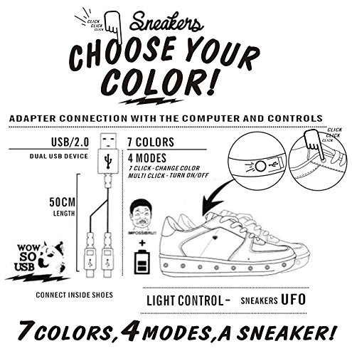 Coshare Womens Fashion Usb-laddning Ledde Lyser Rave Blinkande Sneakers Svart - Patent Pu Flat
