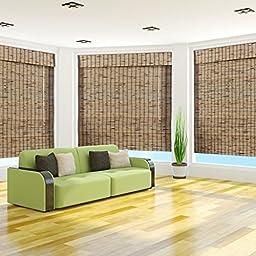 Tropical Rustic Bamboo Roman Shade, 53x74