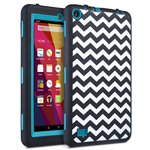 ULAK Fire 7 2015 Case, Heavy Duty Shockproof Kidproof Hard PC Silicone Skin Protective Cove for Amazon Fire Tablet (Fire 7