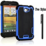Anti-shock and Bump Dual Layer Case for AT&T HTC ONE X , HTC ONE X + LTE ONLY - Soft and Hard Case Cover Skin + Stylus Pen (Anti-Shock&Bump - Black/Blue)