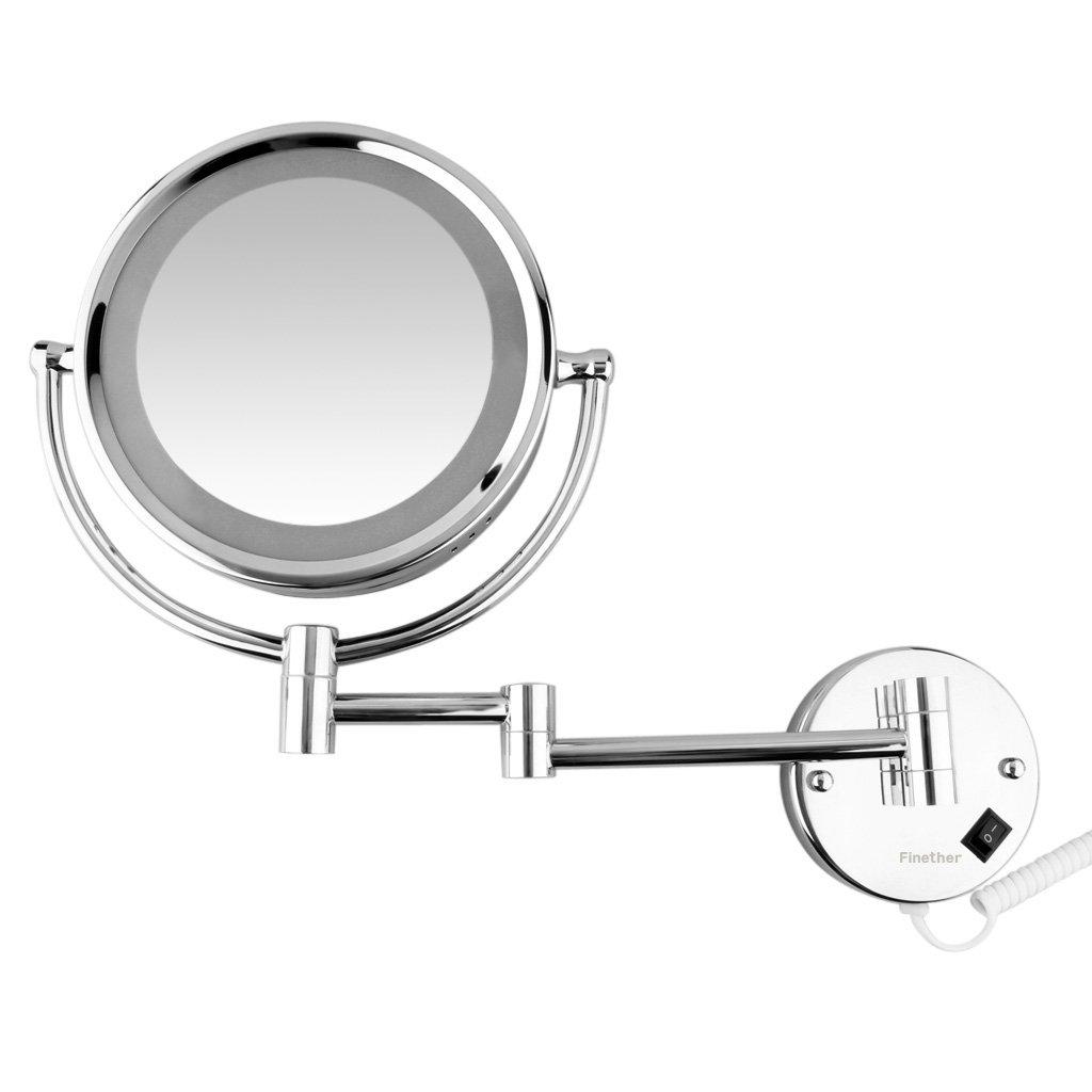 Finether-Espejo de Pared con Lámpara LED (Extensible,Plegable,Dos Caras,Una de Espejo Normal,Otra de Aumento)Plata