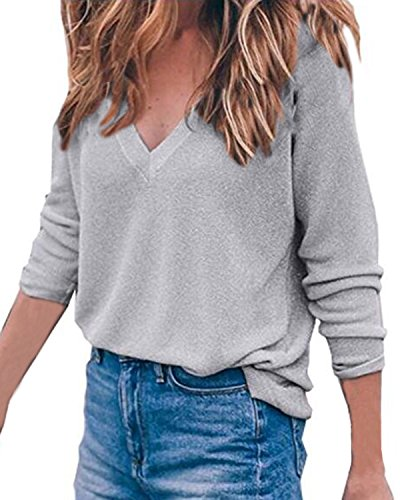 V Chemise Z 10 Pullover Manches T Longues Shirt 2XL Femme Couleurs Pull Auxo Tops S Col Hiver Chic Gris Casual UwIXn6q
