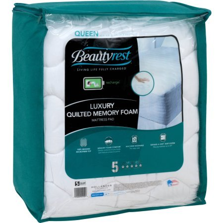 Beautyrest Quilted Memory Foam Mattress Pad (White, Full)