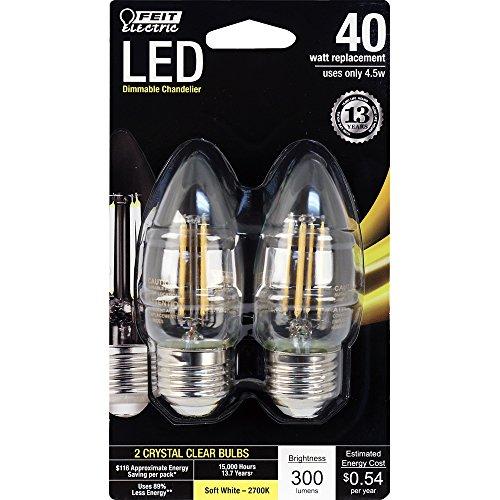 FEIT ELECTRIC BPETC40/827/LED/2 Dimmable Led Chandelier Bulb, Standard Base, 40 Watt Equivalent, 120 Volt, 300 Lumens, 2700°K, CRI >80, Watt, Clear, 2 Pack