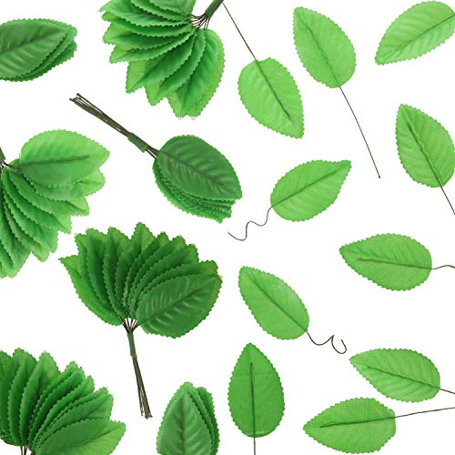 200 Pieces Leaves with Wire Silk Artificial Leaves for Flower DIY Home Christmas Wedding Corsage Bouquet Wreaths Party Decoration (Green)