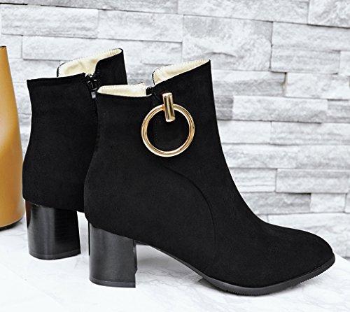 Noir Anneau Bottines Effet Femme Moyen Chaussures Oaleen Soirée Boots Daim Talon Cheville Hiver Chelsea paqnwYO