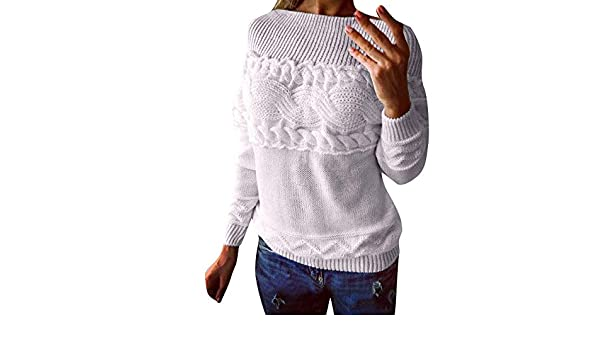 Oudan suéter de Manga Larga sin Tirantes Trenzado de Punto para Mujer, Blanco, Large: Amazon.es: Hogar