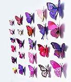Mercurymall - 12 adesivi murali 3D farfalle autoadesive rimovibili e riutilizzabili viola